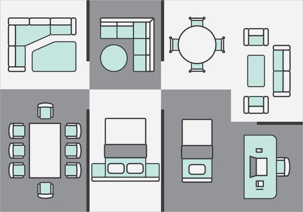 Architecture Plans Furniture Icon Collection Free