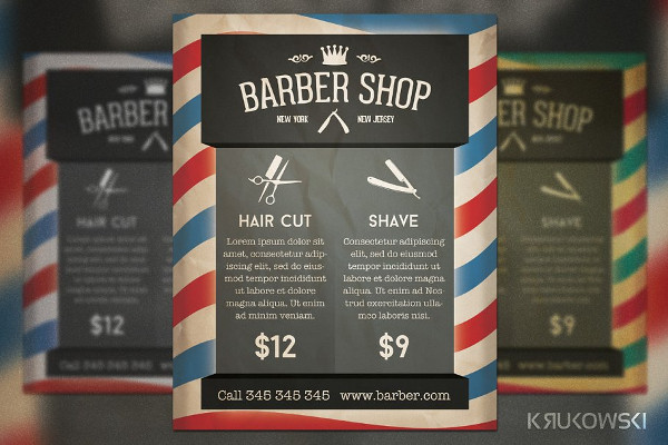 Barber Shop Retro Flyer Template