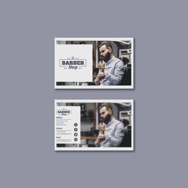 Business Card Template with Barber Concept Free PSD
