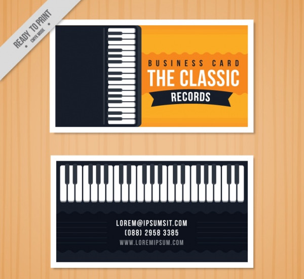 Business card with a Piano for a Music Studio Free Download