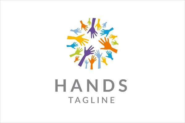 Colorful Hands Logo for Charity and Social Group