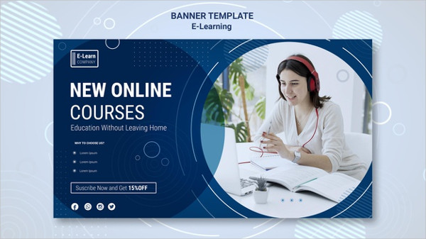 E-Learning Concept Banner Template Free PSD