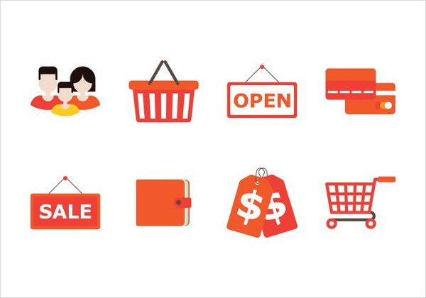 Family and shopping Flat Icons Set