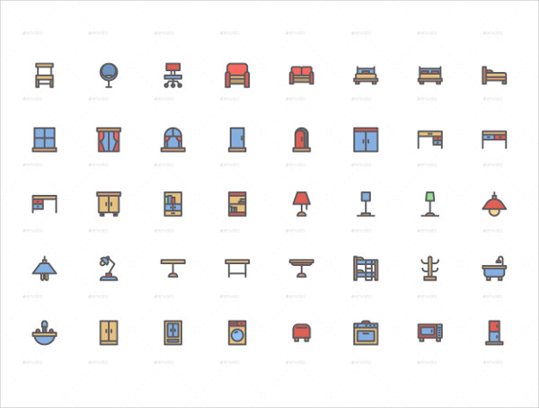Fully Editable Furniture Icon Pack