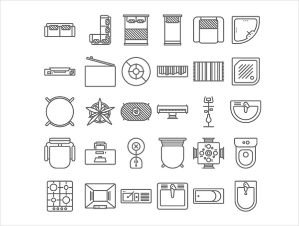 Furniture Icon Set in Top View Free Vector