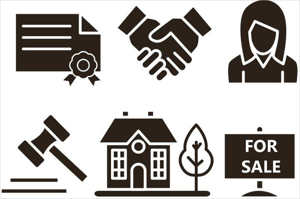 Set of Real Estate Vector Icons in Silhouette Form