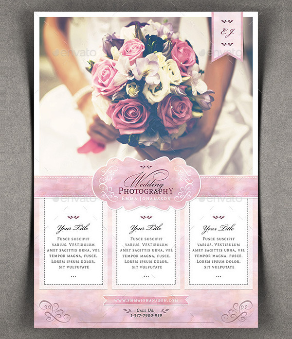 Watercolor Wedding Photography Flyer Template