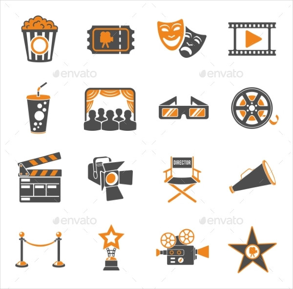 Cinema and Movie Two-Color Icon Set