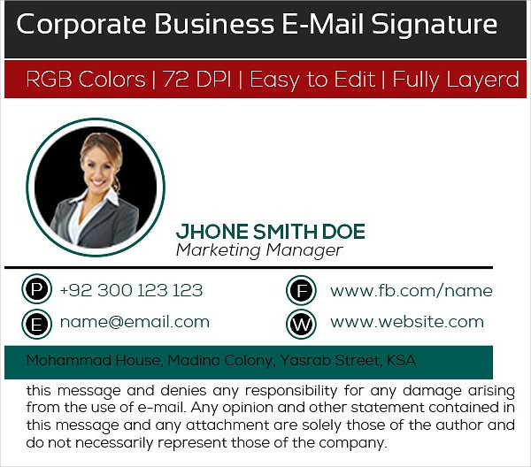 Corporate Business E-Signature Design