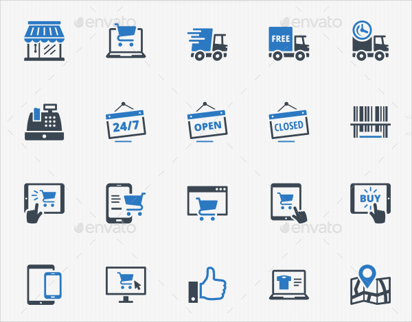E-commerce Icons in Blue Series