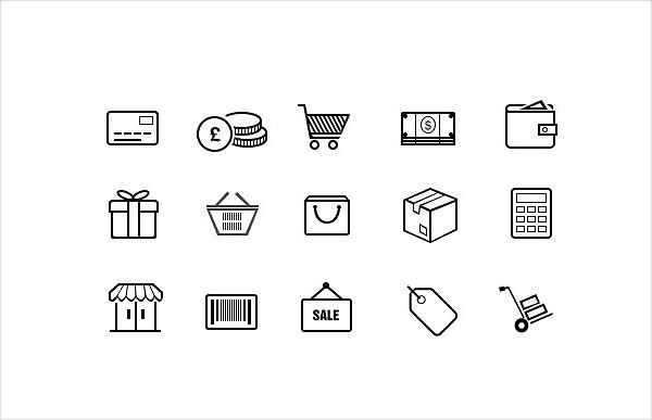 Stylish Outline Icons with an Ecommerce Theme