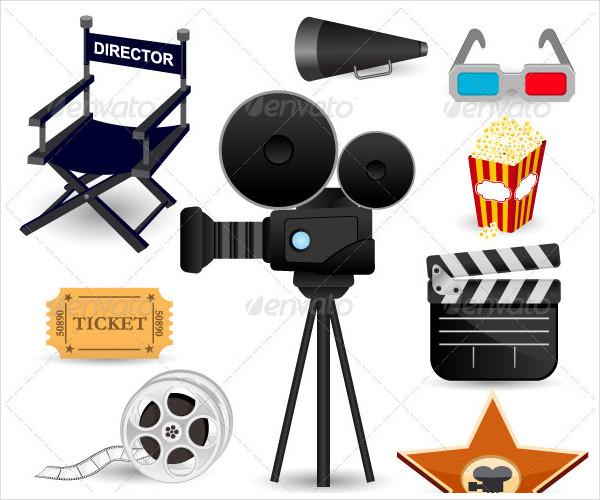 Film Icons Set Illustration