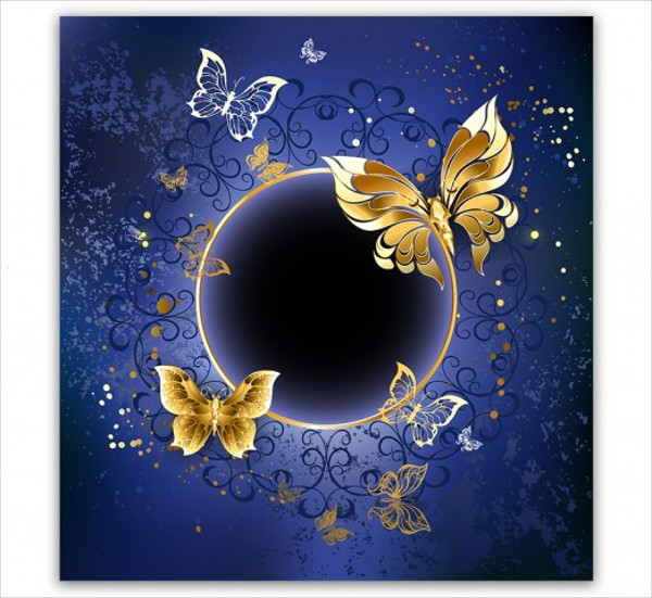 Gold Butterflies On a Blue Background