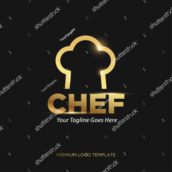 Gold Chef Vector Logo Template