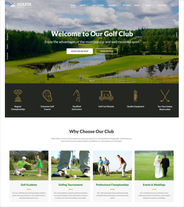 Golf Club Multipage HTML Website Template