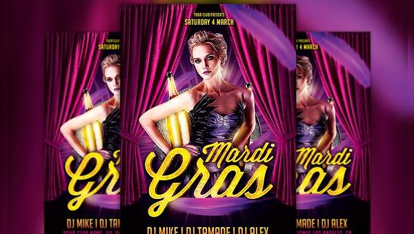 Mardi Gras Party Flyer Templates