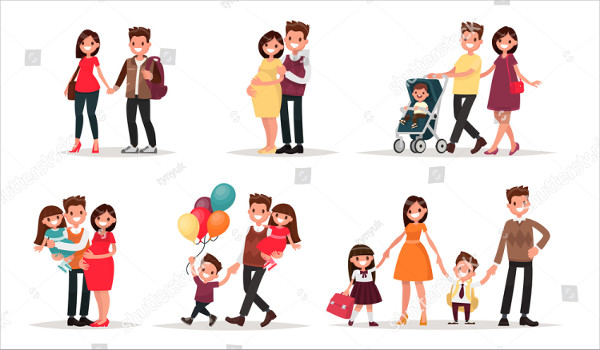 Set of Cartoon Family Vector