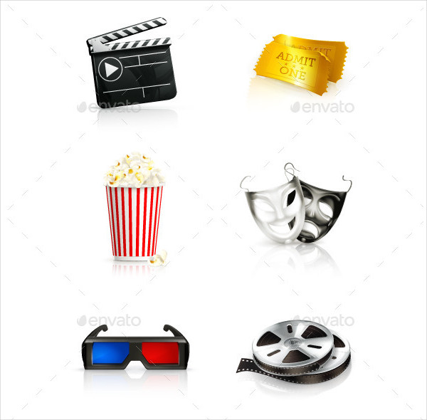 Set with Movie Vector Icons
