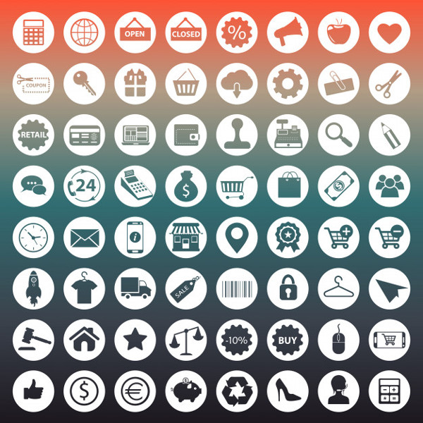 Shopping and E-commerce Icons Free Download