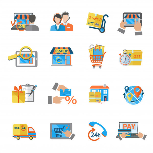 Free Vector Shopping Ecommerce Icon Pack