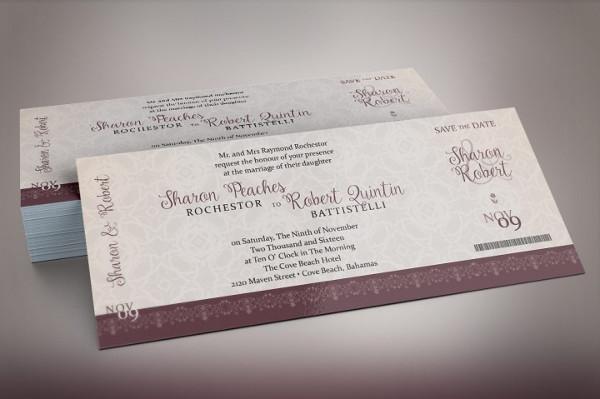 Vintage Boarding Pass Invitation Templates