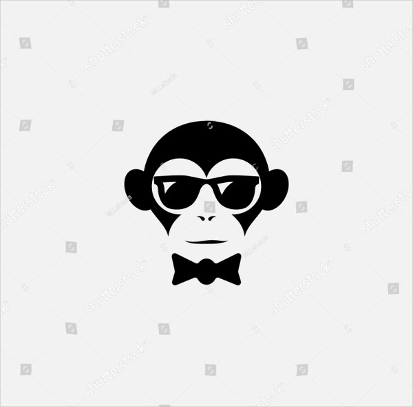 Funny Logo Design Template with Monkey
