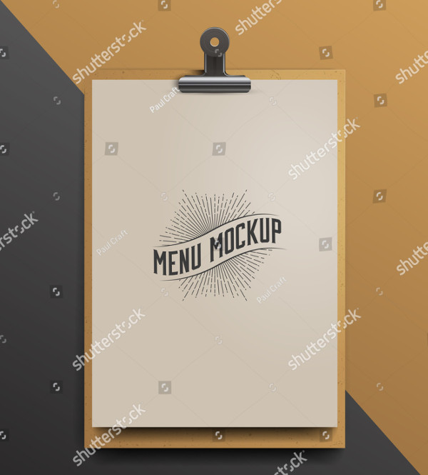Menu Mockup Realistic Vector Illustration