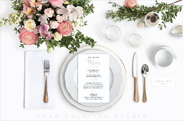 Modern Wedding Menu Mockup