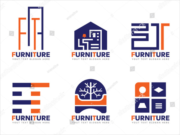 Orange & Blue Furniture Logos Set Design Vector