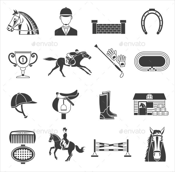 Black Icon Set With Horse Equipment