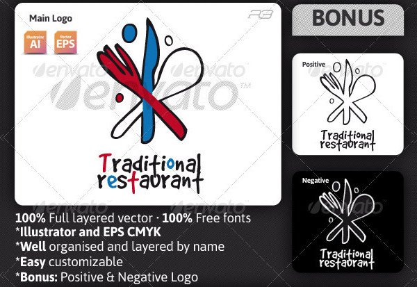 Famous Traditional Restaurant Logo Template