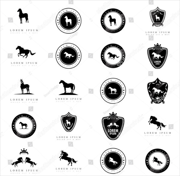 Horse Icons Set Isolated On White Background