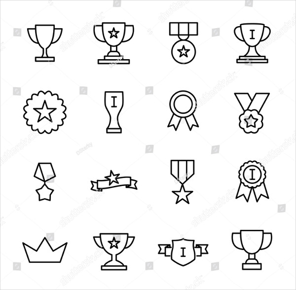 Set of Premium Award Icons in Line Style