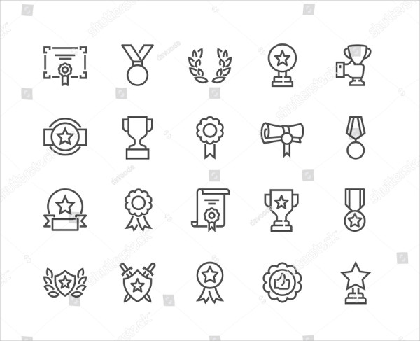 Simple Set of Awards Related Vector Line Icons