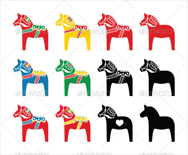 Swedish Dala Horse Vector Icon Set