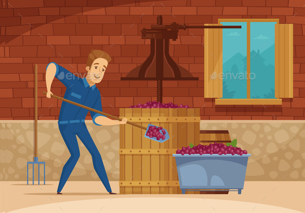 Winery Grapes Crushing Cartoon Poster