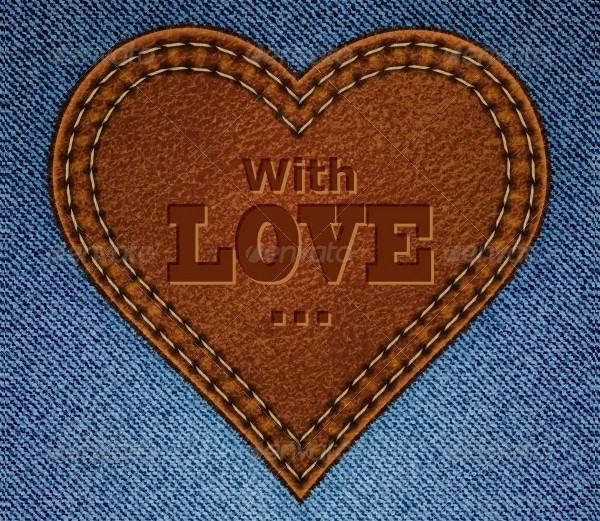 Abstract Leather Heart on Jeans Background