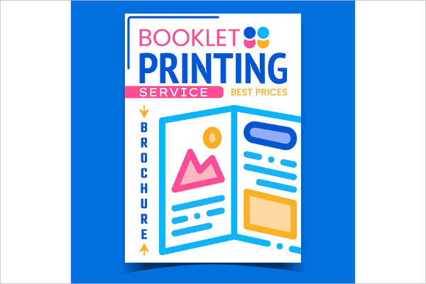 Booklet Printing Service Advertising Poster Vector