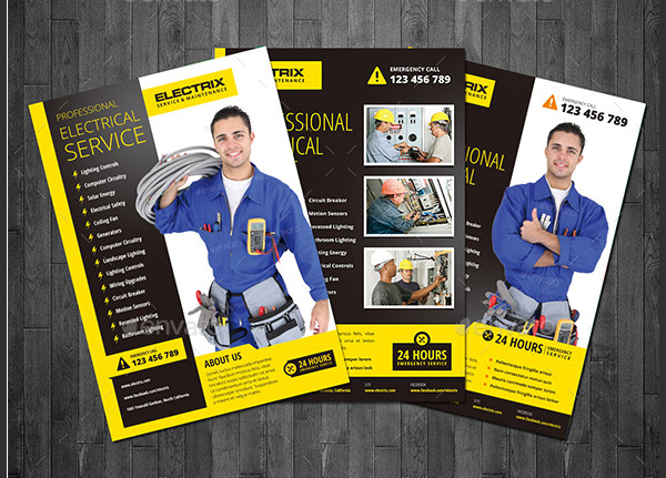 Professional Electrical Service Flyer Template