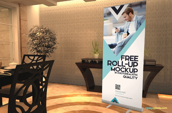 Free Amazing Roll Up Banner Mockup