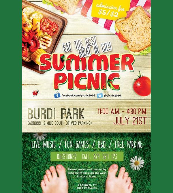 Summer Picnic Free PSD Flyer