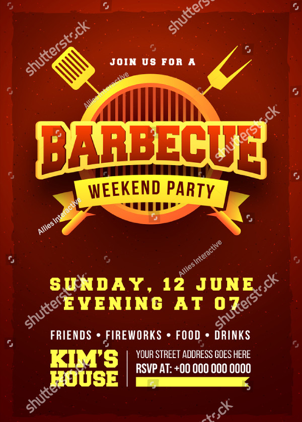 BBQ Invitation Flyer Design Template