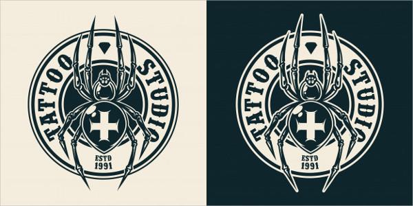 Vintage Tattoo Salon Round Logo Free