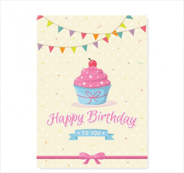 Cute Birthday Card with Cupcake Free Download