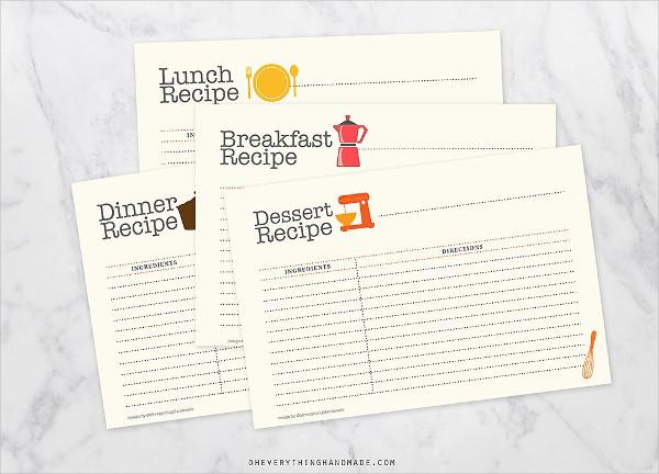 Editable Recipe Card Set