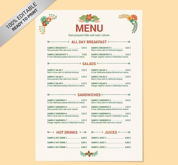 Editable Restaurant Menu Template Free