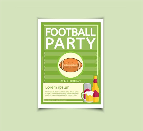 Free Download Football Party Poster Design