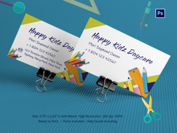 Happy Kidz Daycare Business Card