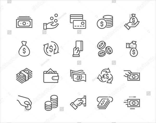 Set of Money Related Vector Line Icons
