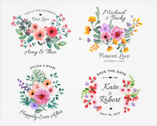 Watercolor Collection of Floral Label Templates Free